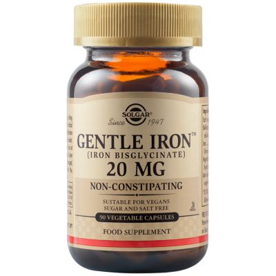 Gentle Iron (Iron Bisglycinate) 20 mg Vegetable Capsules - Pack of  90
